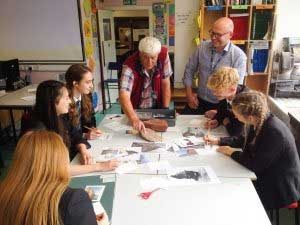 Colin and Jurassic Coast Ambassador Chris Woodward at Sidmouth College