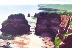 Hern Point Rock, Ladram Bay. Oil on Canvas. 60 x 40 cm